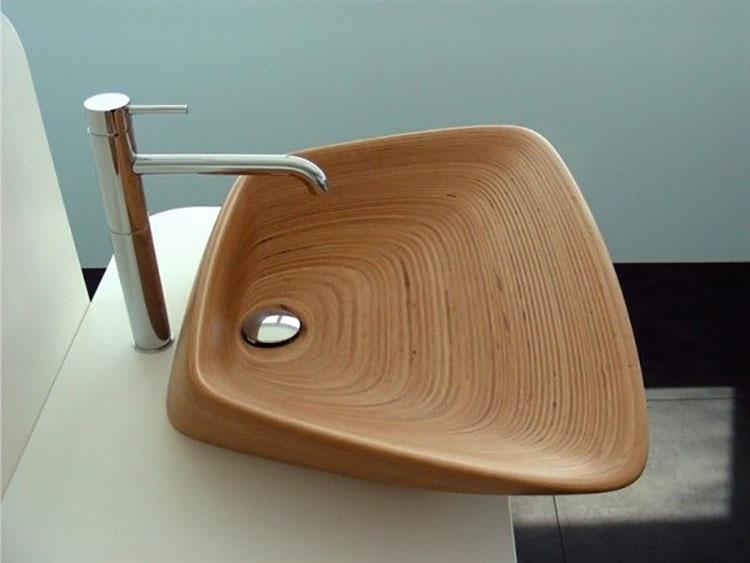 Modello di lavabo bagno in legno dal design originale n.25