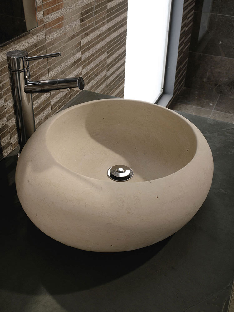 Modello di lavabo bagno in pietra da appoggio originale n.03