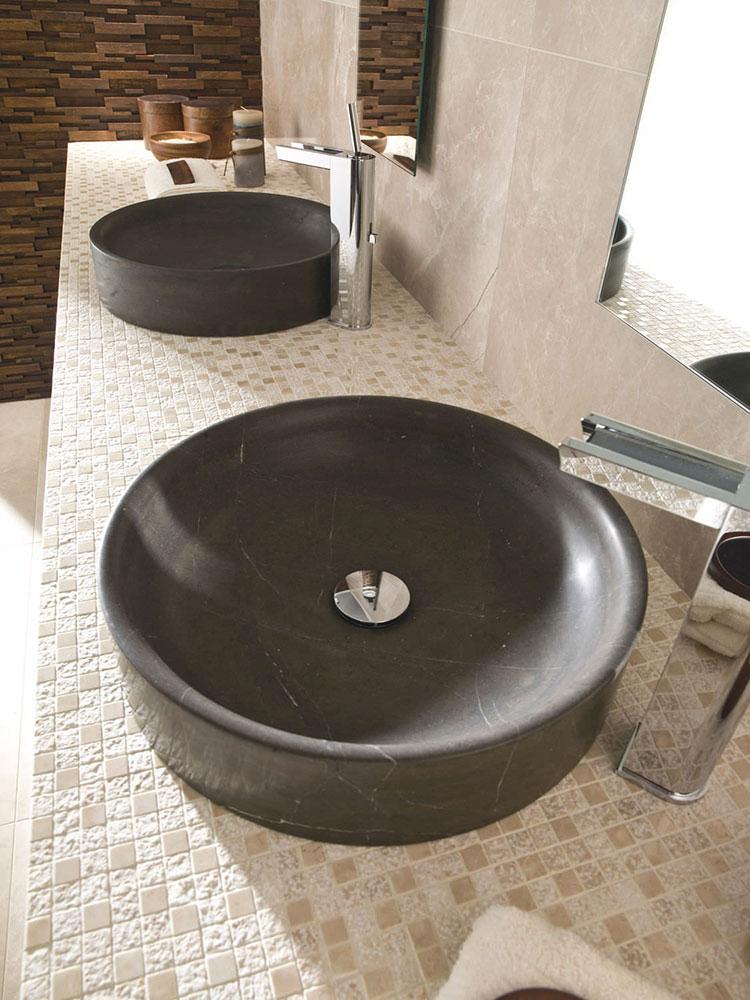 Modello di lavabo bagno in pietra da appoggio originale n.05