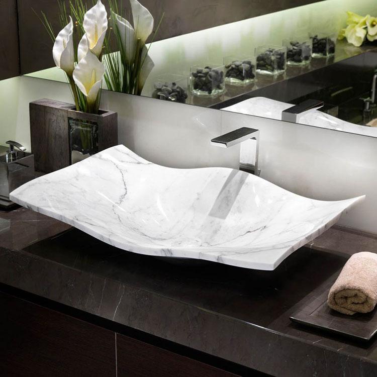 Modello di lavabo bagno in pietra da appoggio originale n.09