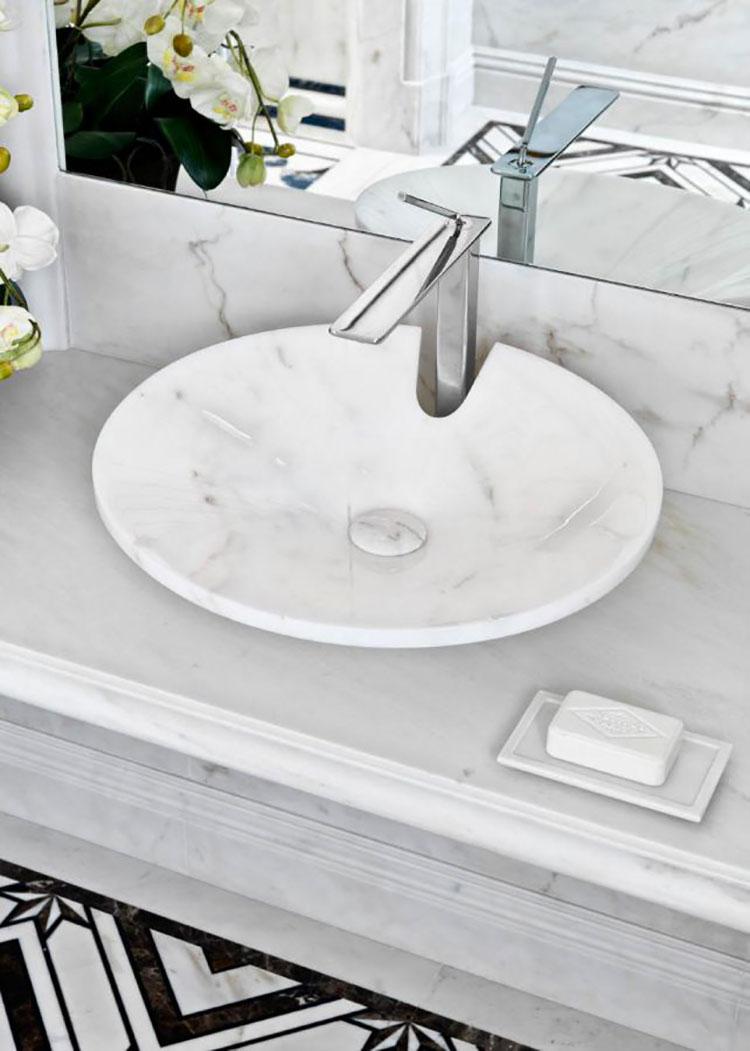 Modello di lavabo bagno in pietra da appoggio originale n.11