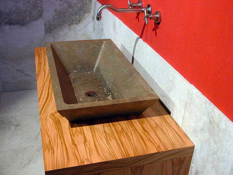 Modello di lavabo bagno in pietra da appoggio originale n.15