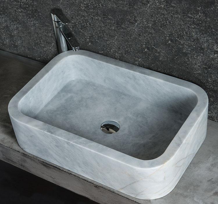 Modello di lavabo bagno in pietra da appoggio originale n.20