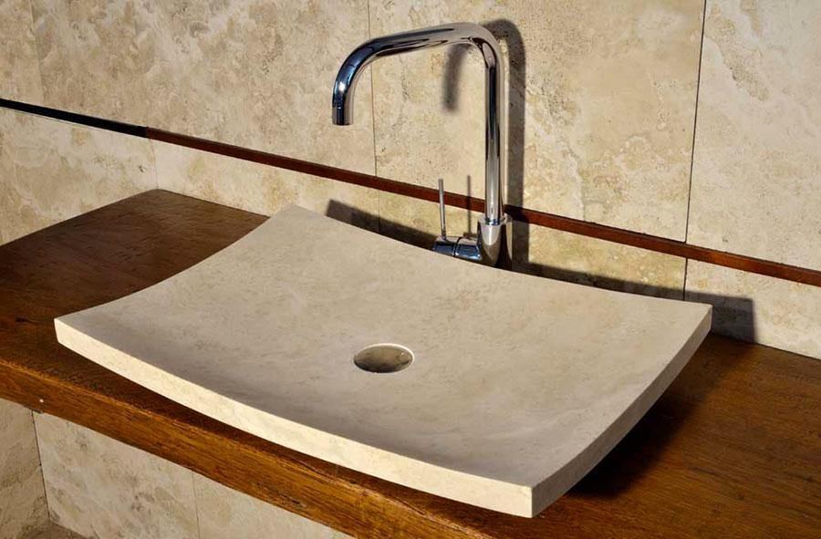 Modello di lavabo bagno in pietra da appoggio originale n.21