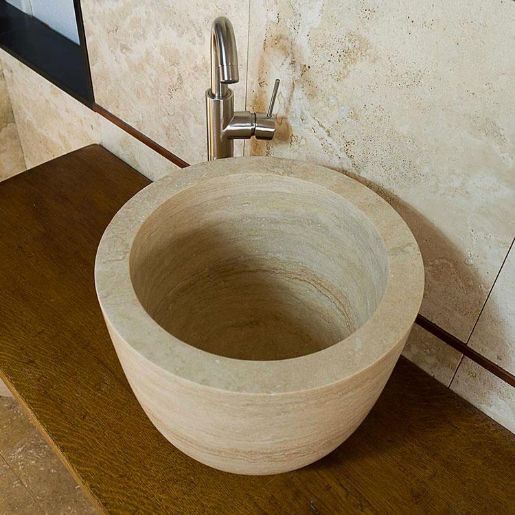 Modello di lavabo bagno in pietra da appoggio originale n.23