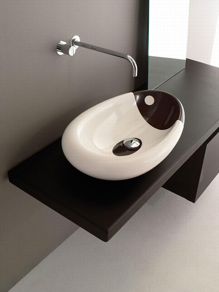 Modello di lavabo bagno in pietra da appoggio originale n.24