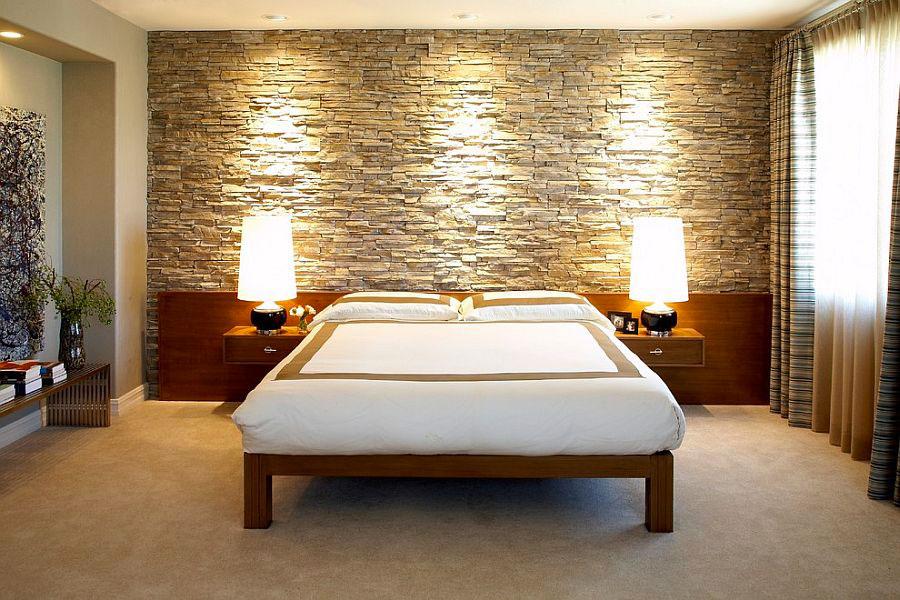 Pareti rivestite in pietra per camere da letto classiche o - Camere da letto in cartongesso ...