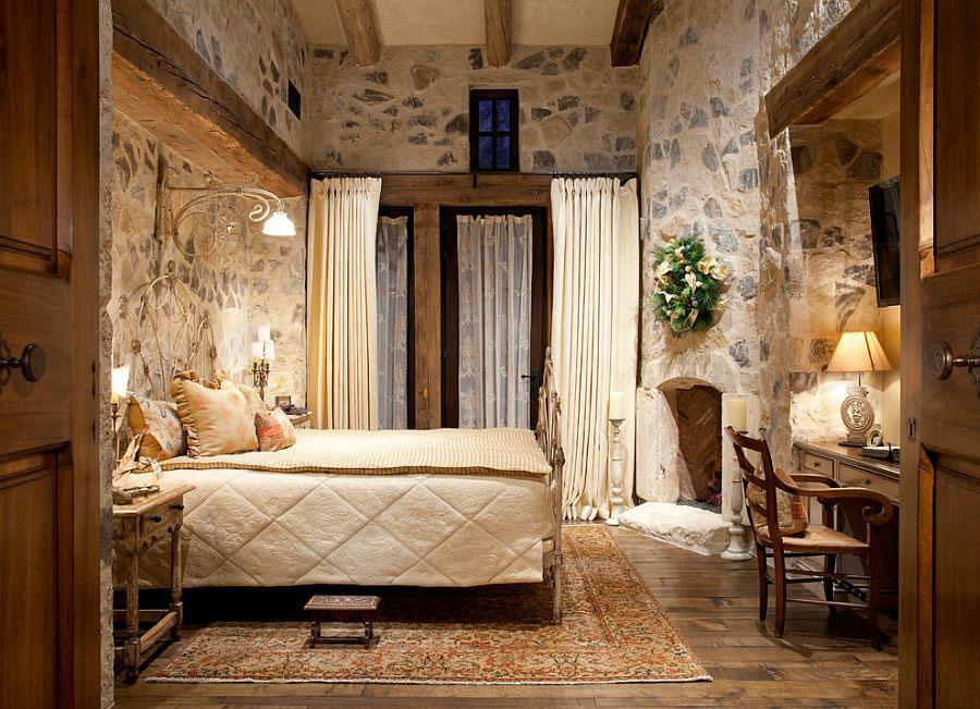 Idea per rivestire le pareti di una camera da letto classica in pietra n.03