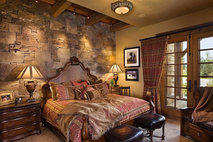 Idea per rivestire le pareti di una camera da letto classica in pietra n.04