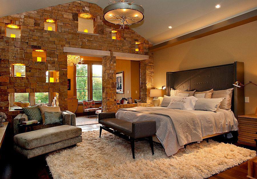 Idea per rivestire le pareti di una camera da letto classica in pietra n.05