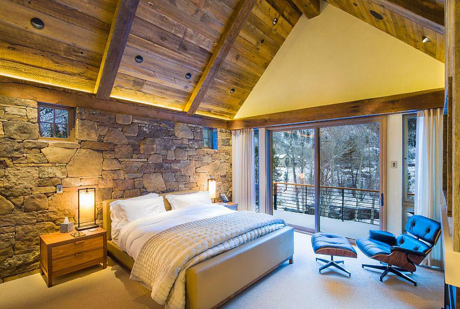 Idea per rivestire le pareti di una camera da letto classica in pietra n.06