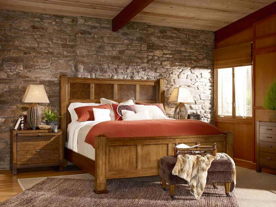 Idea per rivestire le pareti di una camera da letto classica in pietra n.07