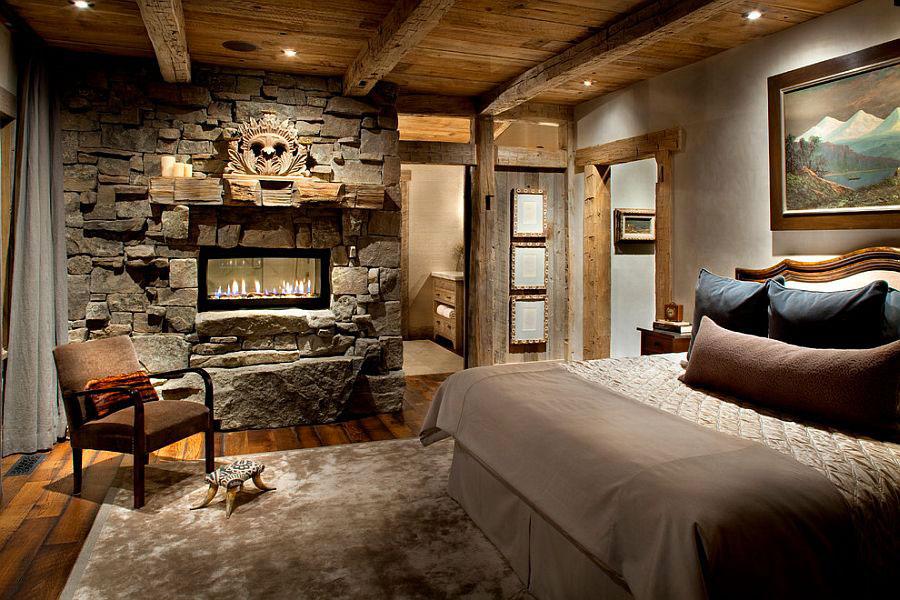 Idea per rivestire le pareti di una camera da letto classica in pietra n.08