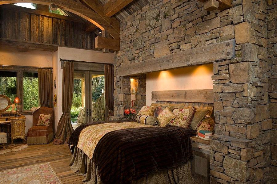 Idea per rivestire le pareti di una camera da letto classica in pietra n.10