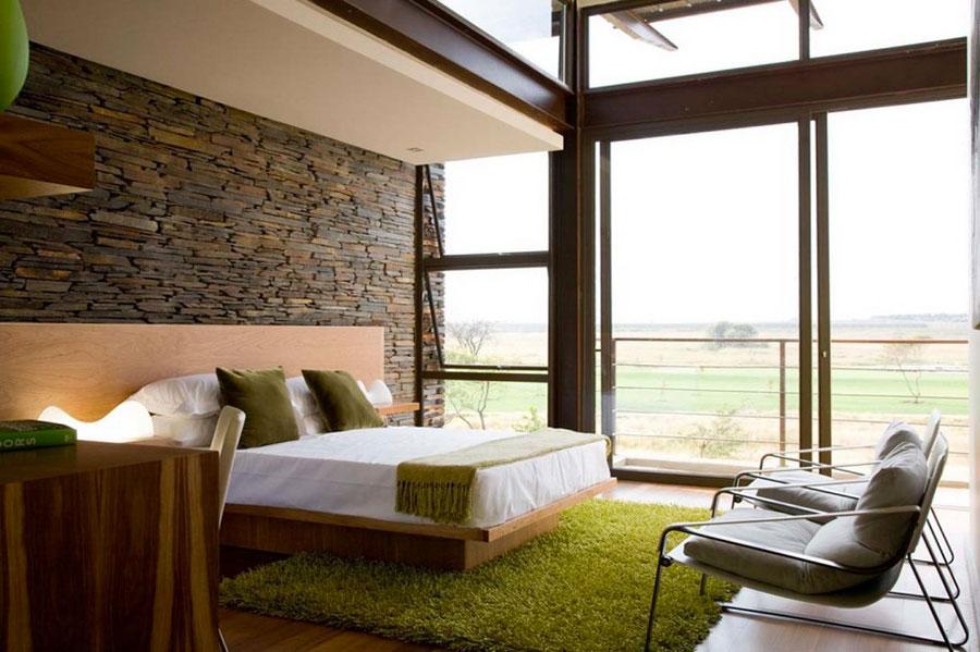 Idea per rivestire le pareti di una camera da letto moderna in pietra n.05