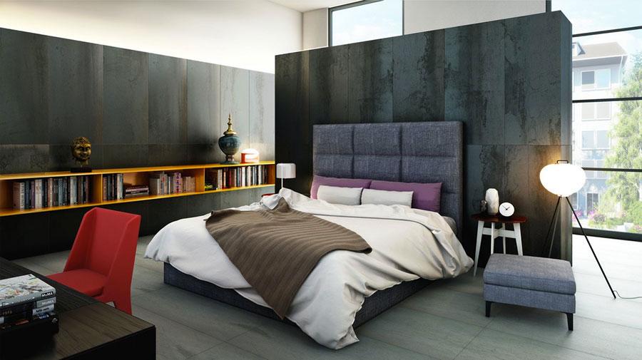 Idea per rivestire le pareti di una camera da letto moderna in pietra n.09