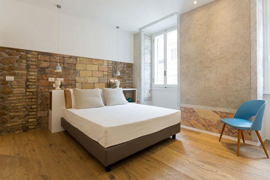 Idea per rivestire le pareti di una camera da letto moderna in pietra n.10