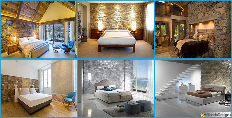 Pareti rivestite in pietra per camere da letto classiche o - Parete rivestita in pietra ...