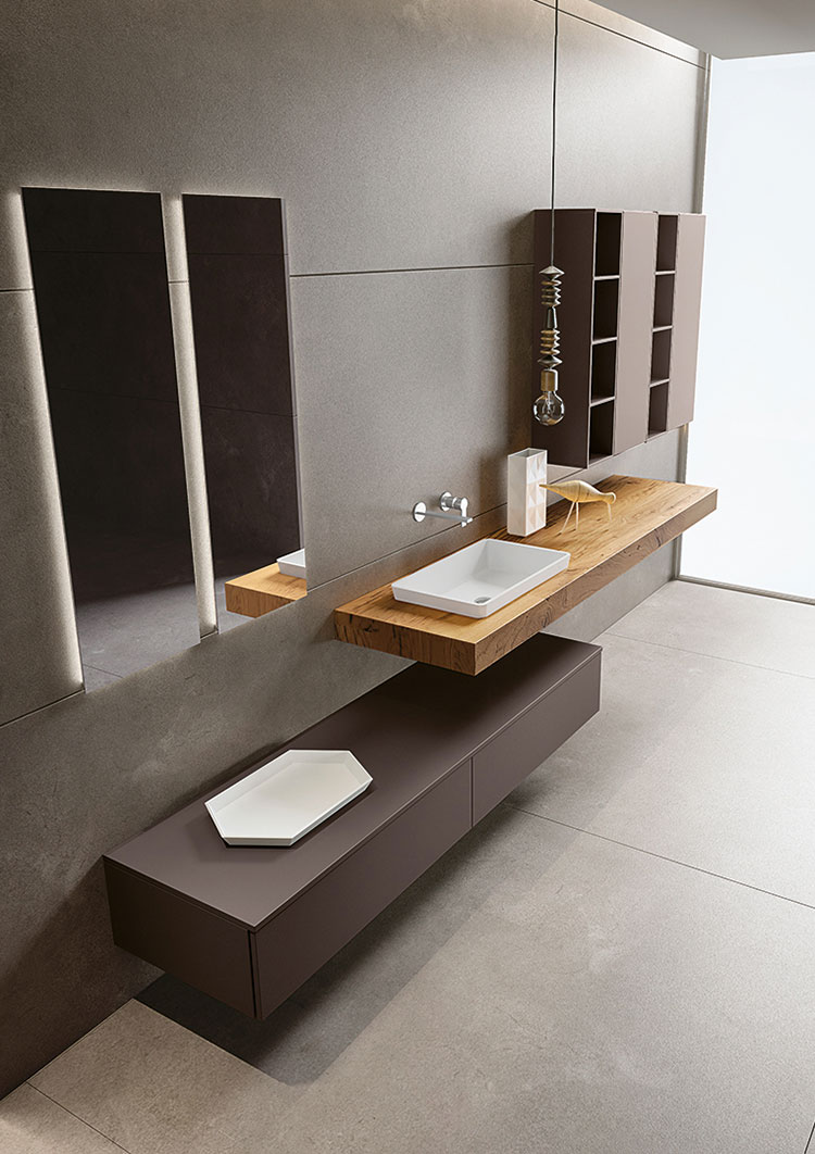 Modello di piano per lavabo in legno massello n.02