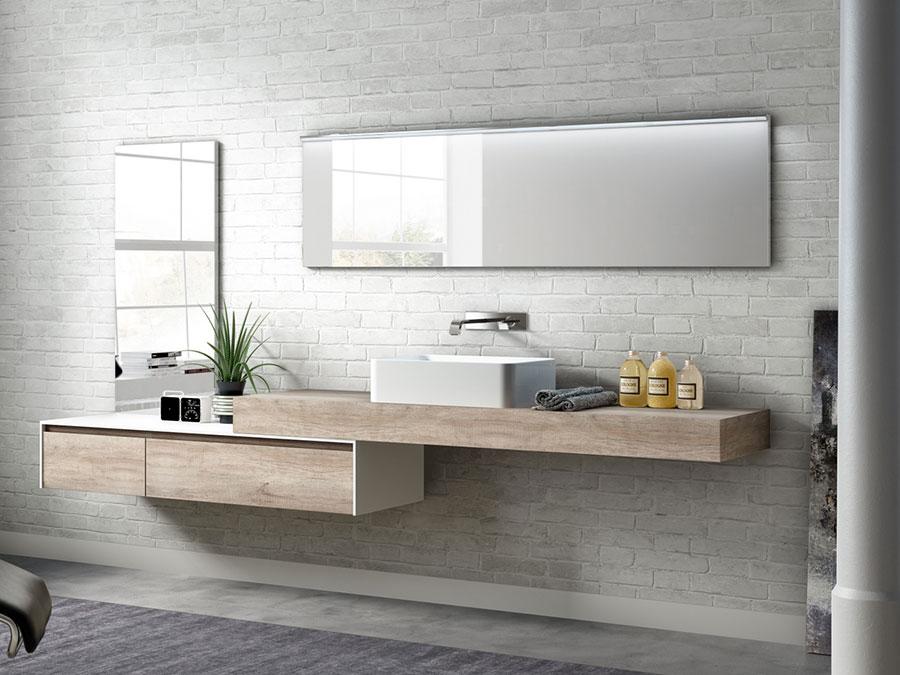 Modello di piano per lavabo in legno massello n.03