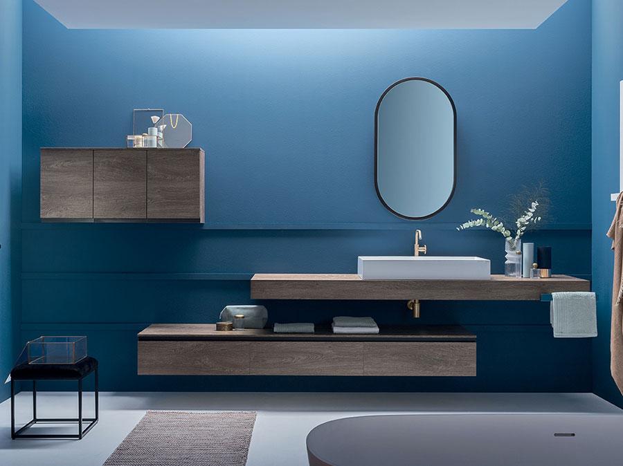 Modello di piano per lavabo in legno massello n.05