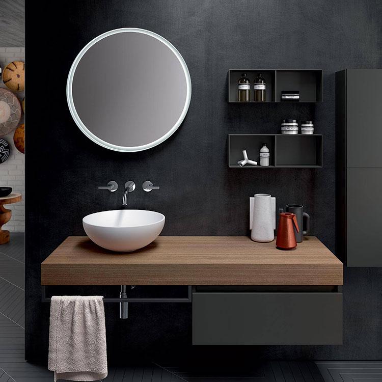 Modello di piano per lavabo in legno massello n.06