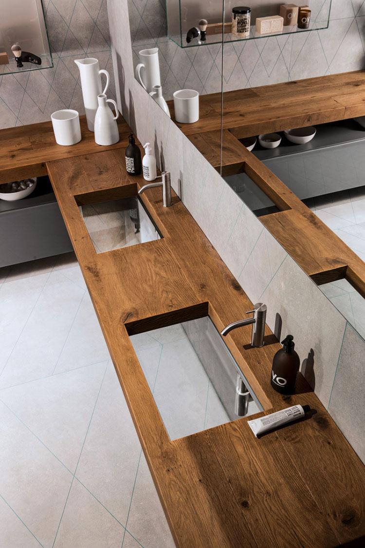 Modello di piano per lavabo in legno massello n.07