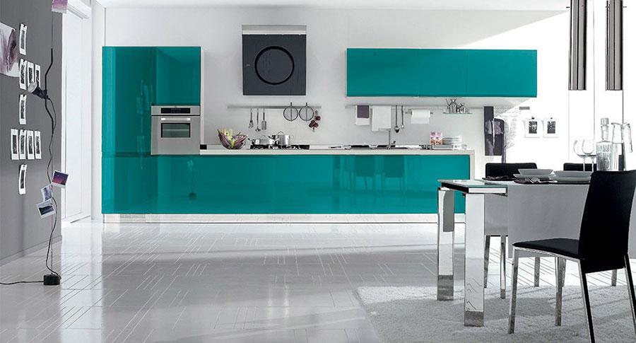 Modello di cucina verde petrolio moderna n.03