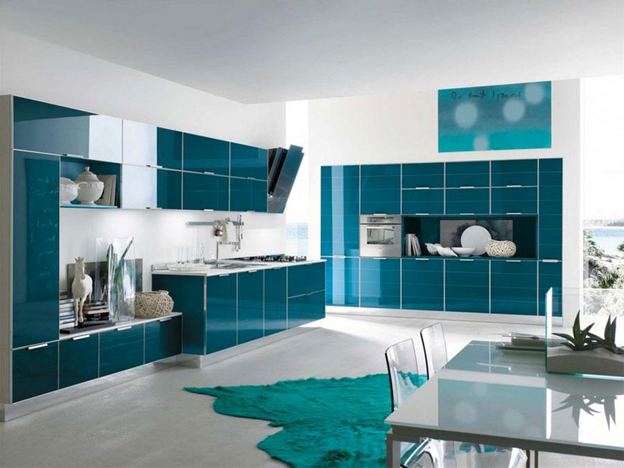 Idee cucina blu petrolio n.01