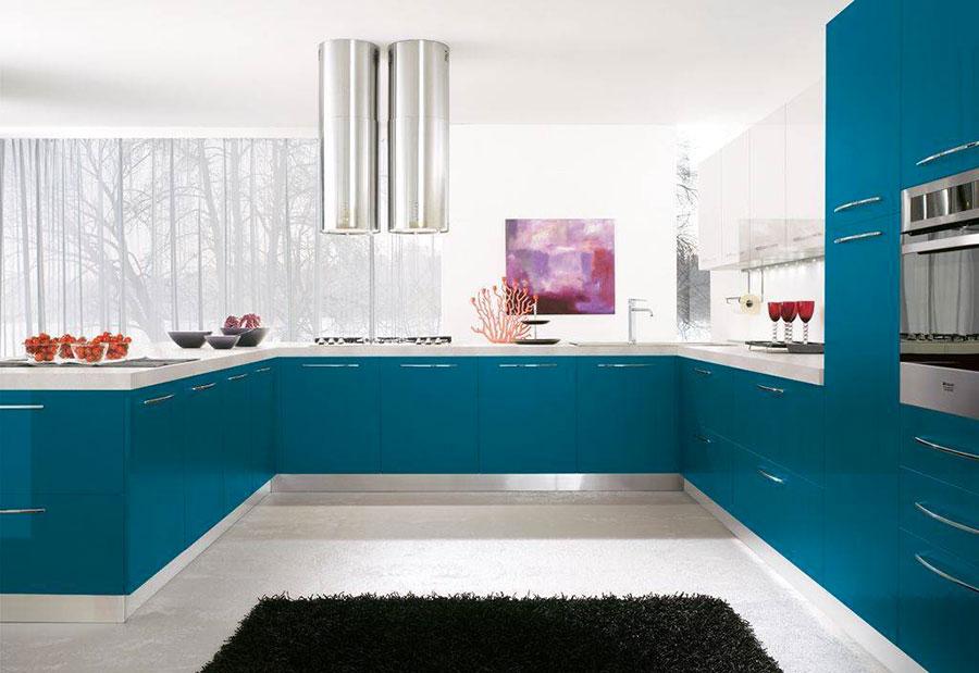 Modello di cucina verde petrolio moderna n.06