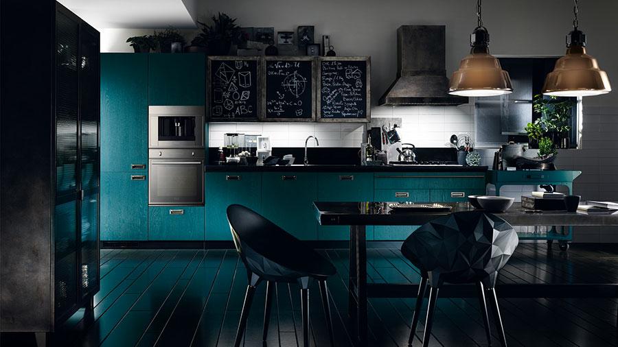 Modello di cucina verde petrolio moderna n.07
