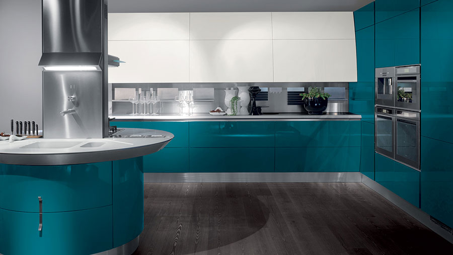 Modello di cucina verde petrolio moderna n.08