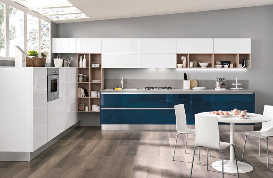 Modello di cucina verde petrolio moderna n.09