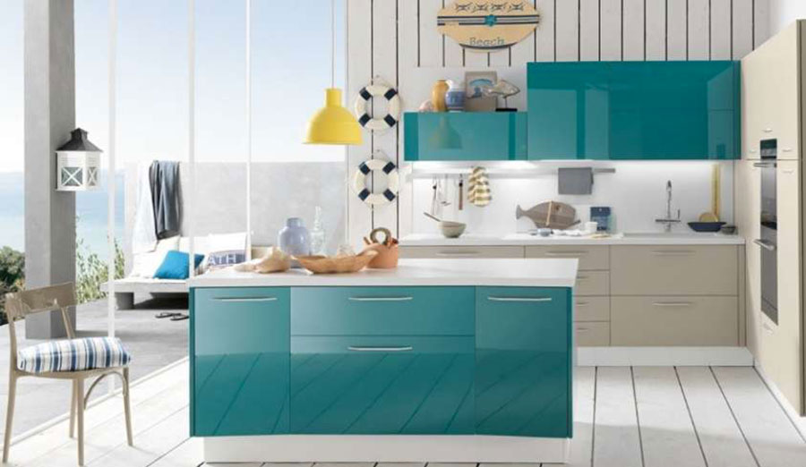 Modello di cucina verde petrolio moderna n.15