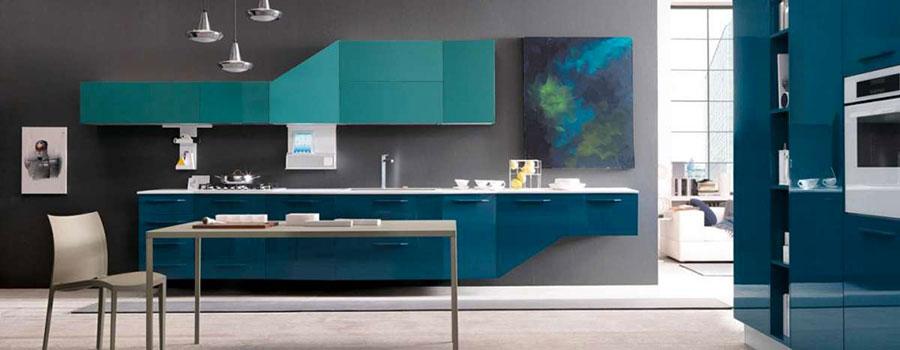 Modello di cucina verde petrolio moderna n.18