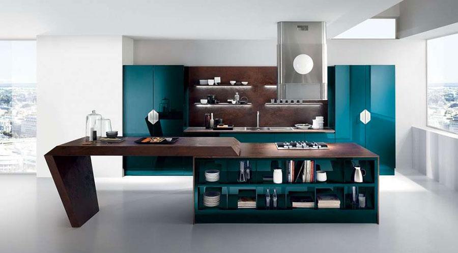 Modello di cucina verde petrolio moderna n.19