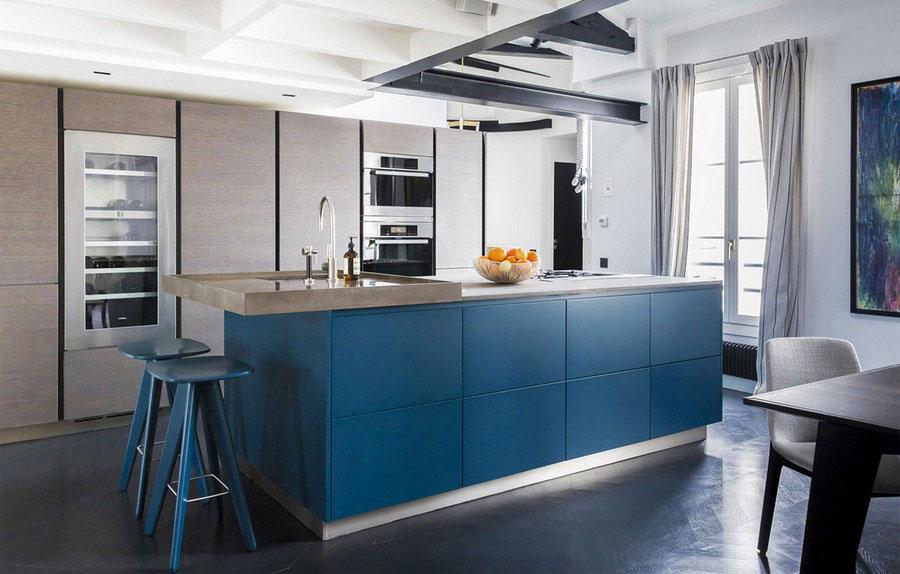 Modello di cucina verde petrolio e legno n.02