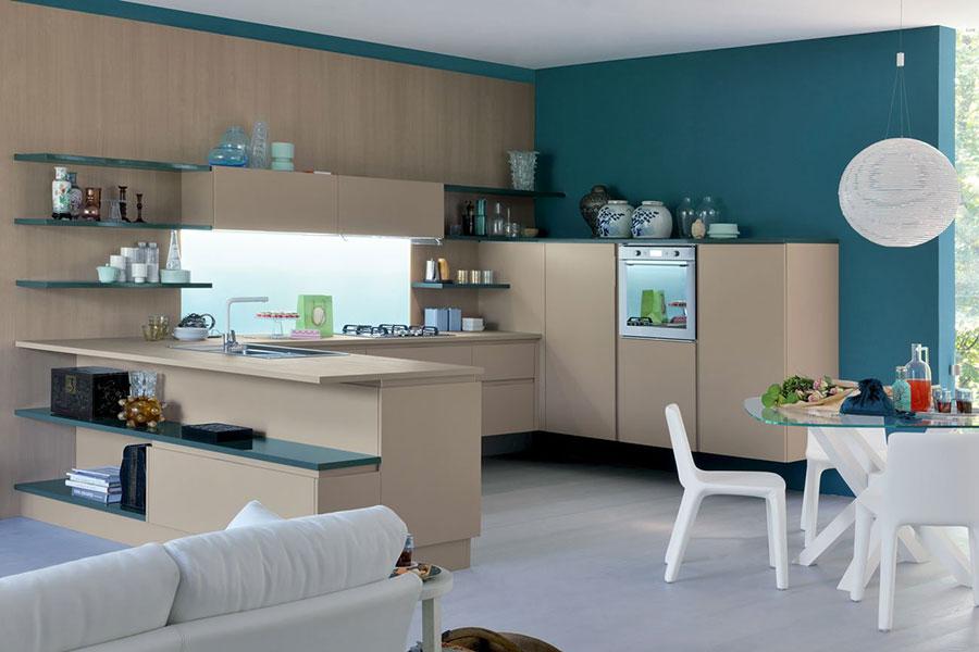 Modello di cucina verde petrolio e legno n.03
