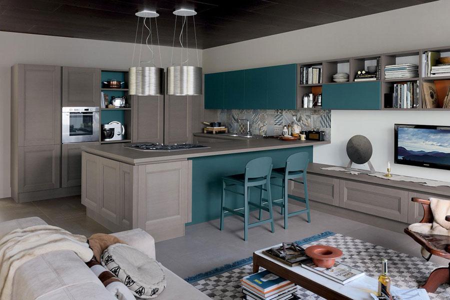 Modello di cucina verde petrolio e legno n.04