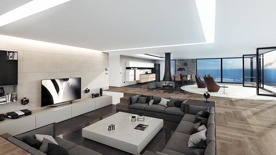 Interni di lusso 5 progetti di arredo moderno in bianco e for Design interni case moderne