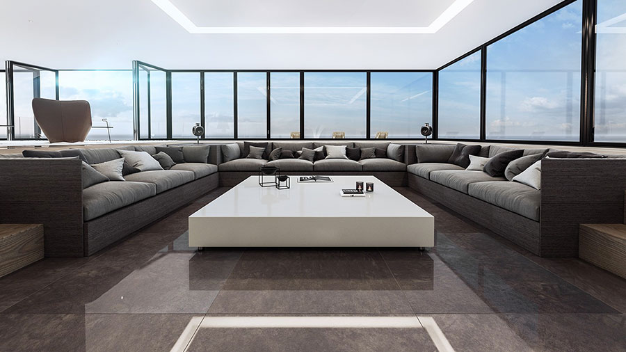 Interni di lusso 5 progetti di arredo moderno in bianco e for Arredamento soggiorno moderno di lusso