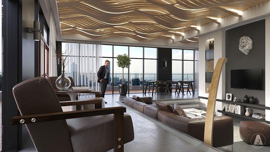 Interni di lusso 5 progetti di arredo moderno in bianco e for Siti di interior design