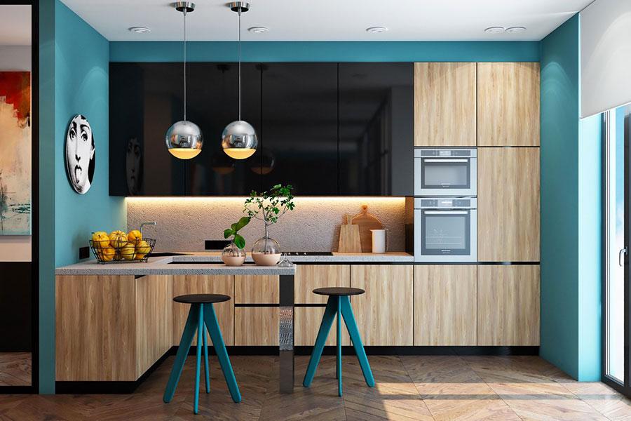 Modello di cucina con pareti verde petrolio n.02