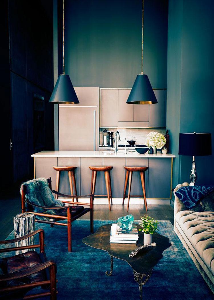 Modello di cucina con pareti verde petrolio n.04