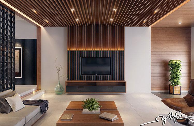 Idea per la creazione di una parete in legno dal design originale n.07