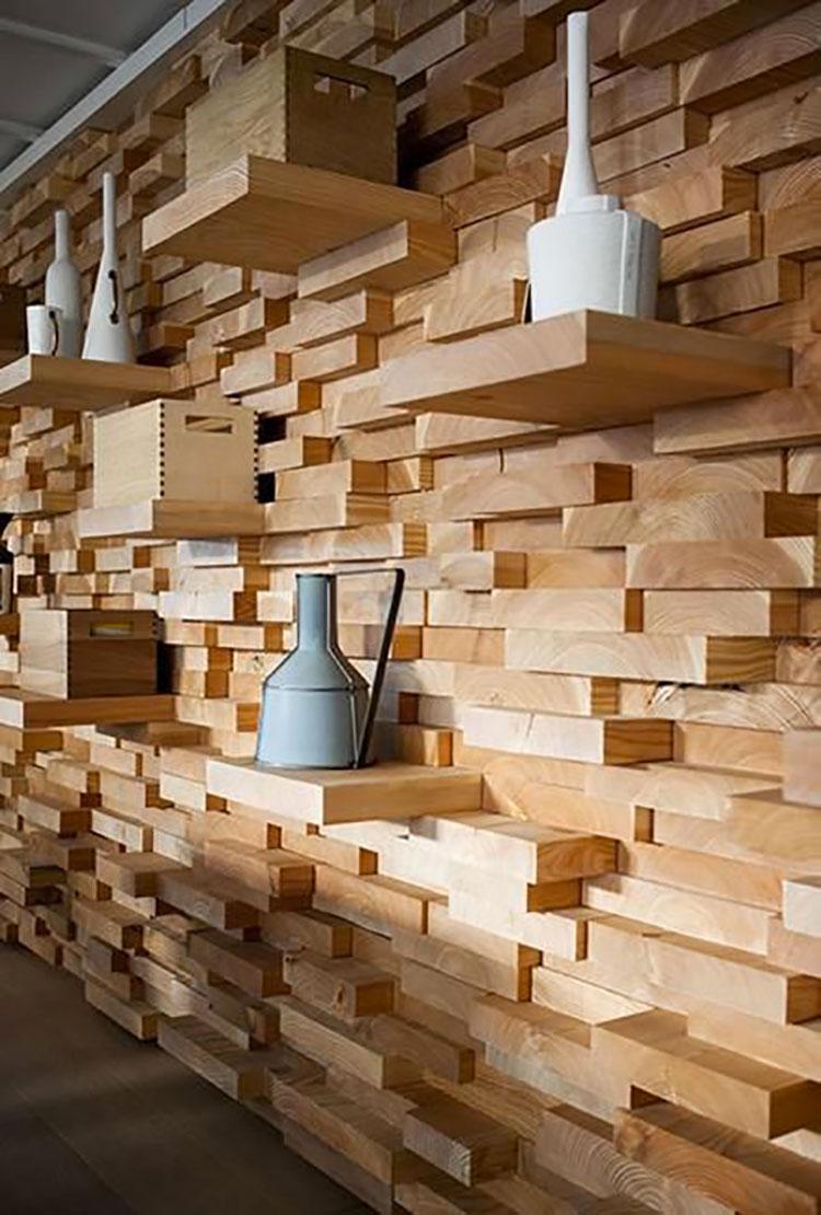 Idea per la creazione di una parete in legno dal design originale n.24