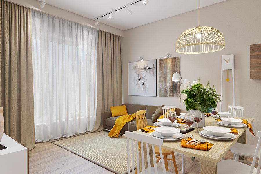 Esempio di arredo di design con il giallo per il living n.02