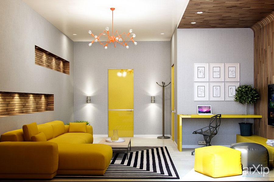 Esempio di arredo di design con il giallo per il living n.03