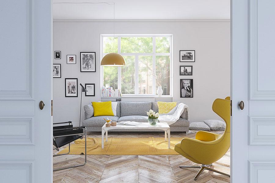 Esempio di arredo di design con il giallo per il living n.06
