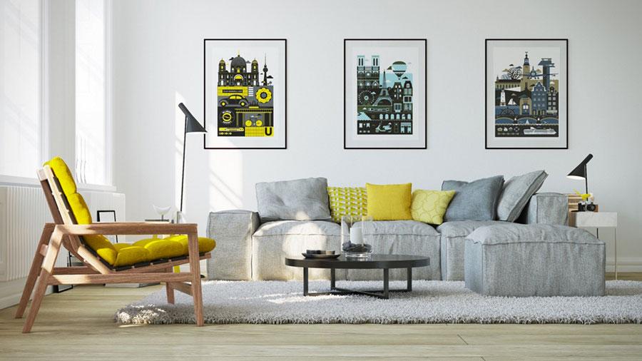Esempio di arredo di design con il giallo per il living n.08